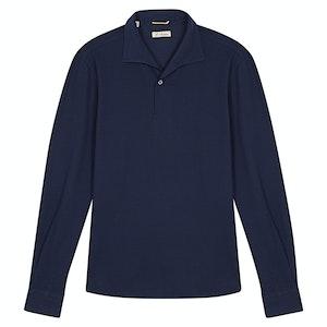 Navy Piquet Cotton Miami Long-Sleeved Handmade Polo