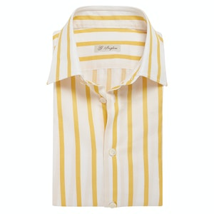Yellow Striped Cotton Classic Collar Shirt