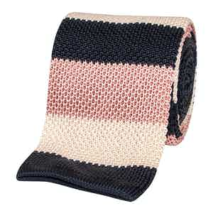 Pink and Navy Striped Tricot Linen Tie