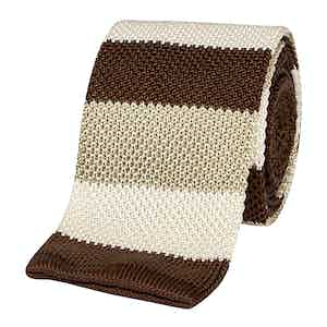 Brown and Beige Striped Tricot Linen Tie