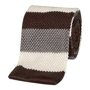 Brown and Grey Striped Tricot Linen Tie