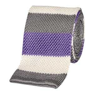 Grey and Purple Striped Tricot Linen Tie