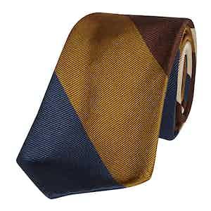 Navy, Brown and Ivory Regimental Broad Stripe Silk Tie