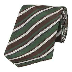 Grey, Brown and White Regimental Striped 10-Fold Silk Tie