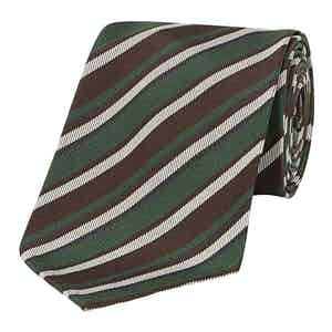 Grey, Brown and White Regimental Striped 10-Fold Silk Tie