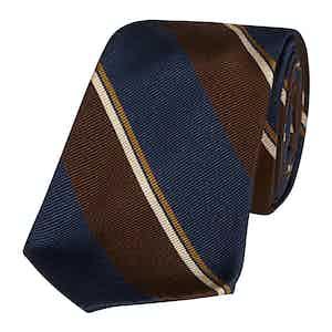 Navy and Brown Silk Regimental Stripe 10-Fold Silk Tie