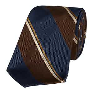 Navy and Brown Silk Regimental Stripe 10-Fold Silk Tie