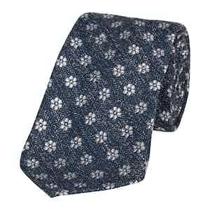 Navy Spotted Shantung Silk Jacquard Tie