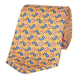 Yellow Paisley Silk Classic Tie
