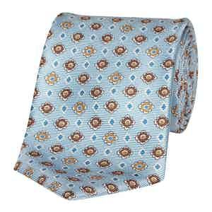 Pale Blue and Caramel Floral Silk Tie