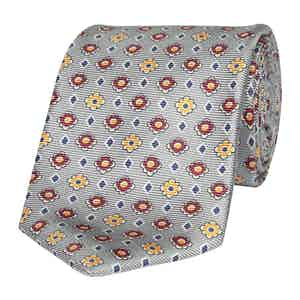 Grey Silk Tie with Burgundy and Yellow Flowers