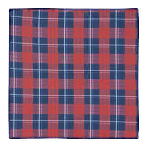 Red and Green Tartan Scalloped Cotton Pocket Square
