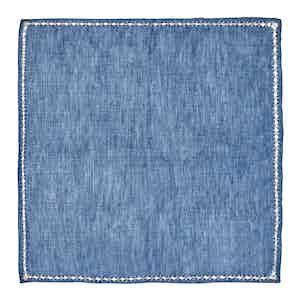 Blue Cross-Stitched Linen Pocket Square