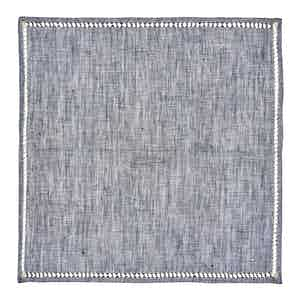 Grey Crochet-Trimmed Linen Pocket Square