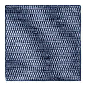 Blue Fantasy Print Scalloped-Cotton Pocket Square