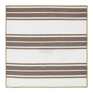 Brown and White Striped Cotton Pocket Square