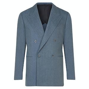Cobalt Cotton-Linen Blend Double-Breasted Jacket