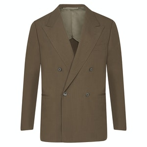 Brown Cotton-Silk Blend Double-Breasted Jacket