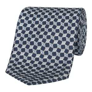 Midnight Blue Knot-Print Silk Tie
