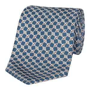 Marine Blue Knot-Print Silk Tie