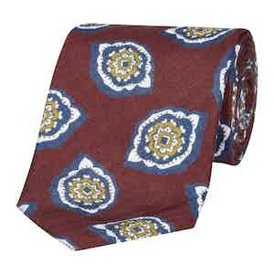 Claret Petal Paisley Silk and Linen Tie