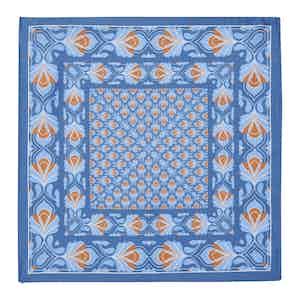 Blue and Ochre Silk Pocket Square