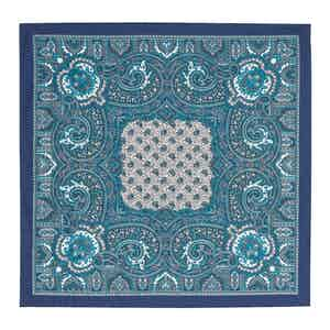 Teal, Navy and White Silk Paisley Pocket Square