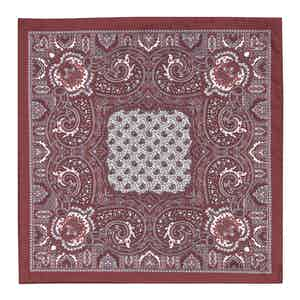 Burgundy and White Silk Paisley Pocket Square