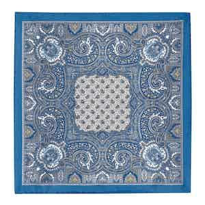 Blue Silk Paisley Pocket Square