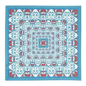 Teal and Red Abstract Silk Pocket Square