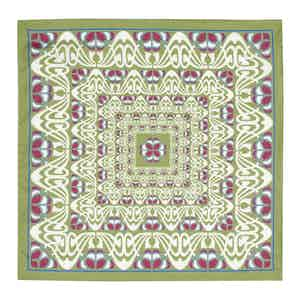 Olive and Pink Abstract Silk Pocket Square
