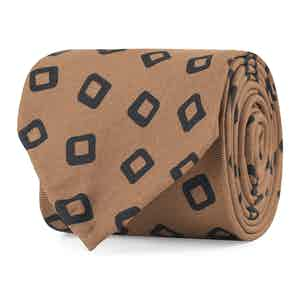 Brown and Black Diamond Fantasy Print Silk Tie
