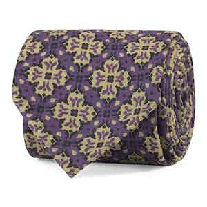 Purple and Khaki Cross Fantasy Print Silk Tie