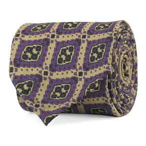 Khaki and Purple Diamond Print Silk Tie