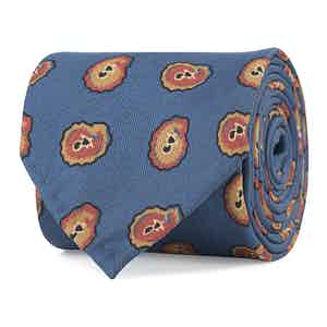 Blue and Red Petal Print Silk Tie