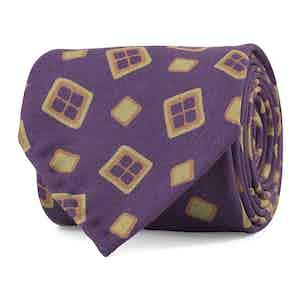 Purple and Khaki Multi-Diamond Print Silk Tie