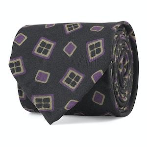 Black and Purple Multi Diamond Print Silk Tie