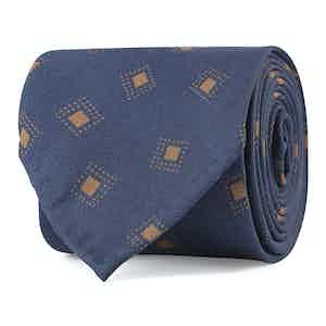 Brown and Blue Diamond Fantasy Print Silk Tie