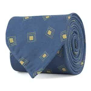 Blue and Pale Green Diamond Fantasy Print Silk Tie