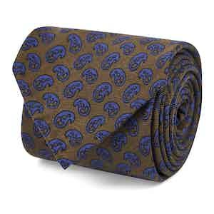 Brown and Blue Petal Print Silk Tie