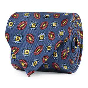 Blue, Red and Yellow Floral Silk Tie