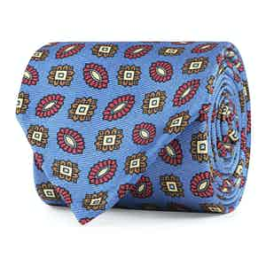 Red, Brown and Blue Floral Silk Tie