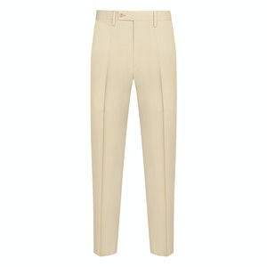 Beige Cotton Casual Trousers