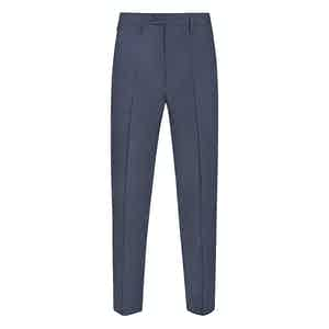 Blue Linen Casual Trousers