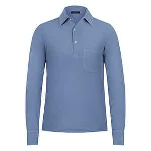 Blue Cotton Long Sleeved Piqué Cotton Polo