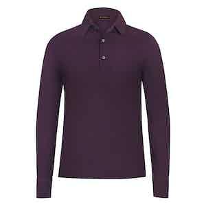 Burgundy Cotton Long Sleeved Piqué Cotton Polo