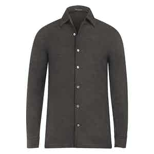 Brown Micro-Check Cashmere Shirt