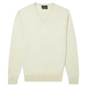 Cream Fine-Gauge Cotton V-Neck Sweater