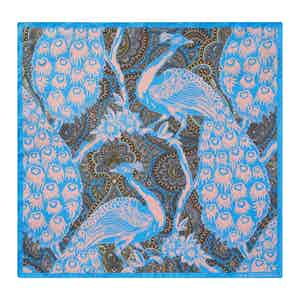 Blue Silk Peacock Print Pocket Square