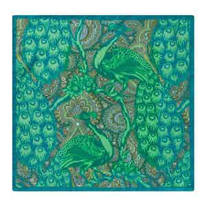 Green Silk Peacock Print Pocket Square